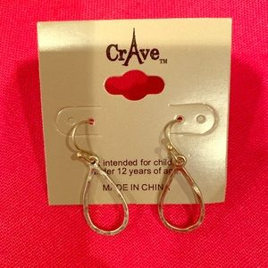 Gold Tone Hammered Drop Earrings New